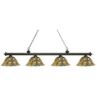 Riviera 4 Light 81 inch Golden Bronze Island Light Ceiling Light in Multi Colored Tiffany Glass (R14A)