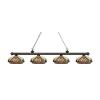 Riviera 4 Light 81 inch Golden Bronze Island Light Ceiling Light in Multi Colored Tiffany Glass (34)