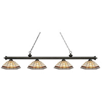 Riviera 4 Light 81 inch Golden Bronze Island Light Ceiling Light in Multi Colored Tiffany Glass (35)