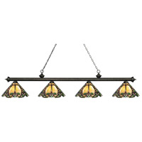 Riviera 4 Light 81 inch Golden Bronze Island Light Ceiling Light in Multi Colored Tiffany Glass (37)