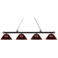 Riviera 4 Light 81 inch Matte Black and Antique Copper Island Light Ceiling Light in Acrylic Burgundy