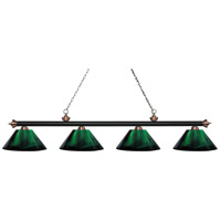 Riviera 4 Light 81 inch Matte Black and Antique Copper Island Light Ceiling Light in Acrylic Green