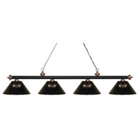 Riviera 4 Light 81 inch Matte Black and Antique Copper Island Light Ceiling Light in Acrylic Smoke