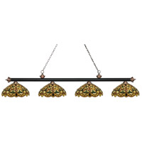 Riviera 4 Light 80 inch Matte Black and Antique Copper Island Light Ceiling Light in Multi Colored Tiffany Glass (C14)