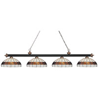 Riviera 4 Light 81 inch Matte Black and Antique Copper Island Light Ceiling Light in Multi Colored Tiffany Glass (F14-1)