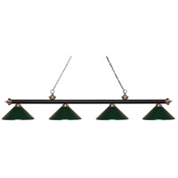 Riviera 4 Light 81 inch Matte Black and Antique Copper Island Light Ceiling Light in Dark Green Metal