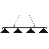 Riviera 4 Light 81 inch Matte Black and Antique Copper Island Light Ceiling Light in Matte Black Metal