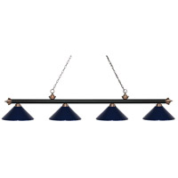 Riviera 4 Light 81 inch Matte Black and Antique Copper Island Light Ceiling Light in Navy Blue Metal