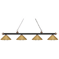 Riviera 4 Light 81 inch Matte Black and Antique Copper Island Light Ceiling Light in Polished Brass Metal