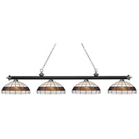 Riviera 4 Light 81 inch Matte Black and Brushed Nickel Island Light Ceiling Light in Multi Colored Tiffany Glass (F14-1)