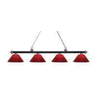 Riviera 4 Light 81 inch Matte Black and Antique Copper Island Light Ceiling Light in Red Plastic