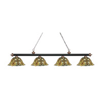 Riviera 4 Light 81 inch Matte Black and Antique Copper Island Light Ceiling Light in Multi Colored Tiffany Glass (R14A)