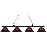 Z-Lite 200-4MB-ARBG Riviera 4 Light 81 inch Matte Black Island Light Ceiling Light in Acrylic Burgundy