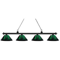 Z-Lite 200-4MB-ARG Riviera 4 Light 81 inch Matte Black Island Light Ceiling Light in Acrylic Green