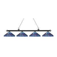 Riviera 4 Light 84 inch Matte Black and Brushed Nickel Island Light Ceiling Light in Multi Colored Tiffany Glass (D16)