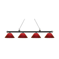 Riviera 4 Light 81 inch Matte Black and Brushed Nickel Island Light Ceiling Light in Red Plastic
