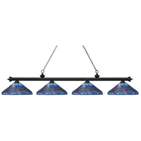 Z-Lite 200-4MB-D16-1 Riviera 4 Light 84 inch Matte Black Island Light Ceiling Light in Multi Colored Tiffany Glass (D16)