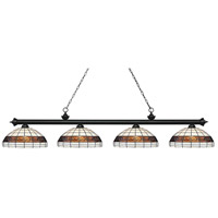 Riviera 4 Light 81 inch Matte Black Island Light Ceiling Light in Multi Colored Tiffany Glass (F14-1)