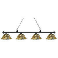 Z-Lite 200-4MB-R14A Riviera 4 Light 81 inch Matte Black Island Light Ceiling Light in Multi Colored Tiffany Glass (R14A)