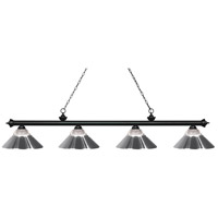 Z-Lite 200-4MB-RCH Riviera 4 Light 81 inch Matte Black Island Light Ceiling Light in Clear Ribbed and Chrome