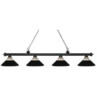Z-Lite 200-4MB-RMB Riviera 4 Light 81 inch Matte Black Island Light Ceiling Light in Clear Ribbed and Matte Black