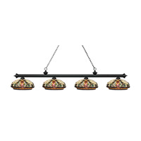 Riviera 4 Light 81 inch Matte Black Island Light Ceiling Light in Multi Colored Tiffany Glass (34)