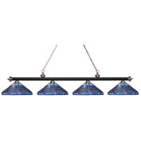 Riviera 4 Light 84 inch Matte Black and Antique Copper Island Light Ceiling Light in Multi Colored Tiffany Glass (D16)