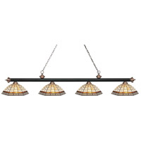 Riviera 4 Light 81 inch Matte Black and Antique Copper Island Light Ceiling Light in Multi Colored Tiffany Glass (35)