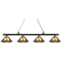 Riviera 4 Light 81 inch Matte Black and Antique Copper Island Light Ceiling Light in Multi Colored Tiffany Glass (37)