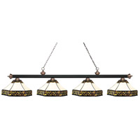 Riviera 4 Light 83 inch Matte Black and Antique Copper Island Light Ceiling Light in Multi Colored Tiffany Glass (30)