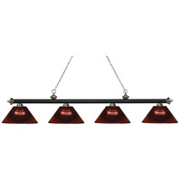 Z-Lite 200-4MB+BN-ARBG Riviera 4 Light 81 inch Matte Black and Brushed Nickel Island/Billiard Ceiling Light in Acrylic Burgundy