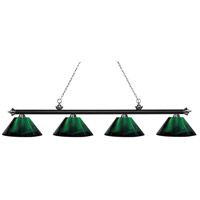 Z-Lite 200-4MB+BN-ARG Riviera 4 Light 81 inch Matte Black and Brushed Nickel Island/Billiard Ceiling Light in Acrylic Green