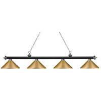 Z-Lite 200-4MB+BN-MSG Riviera 4 Light 81 inch Matte Black and Brushed Nickel Island/Billiard Ceiling Light
