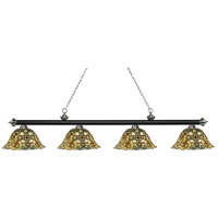 Riviera 4 Light 81 inch Matte Black and Brushed Nickel Island Light Ceiling Light in Multi Colored Tiffany Glass (R14A)