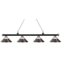 Z-Lite 200-4MB+BN-RBN Riviera 4 Light 81 inch Matte Black and Brushed Nickel Island/Billiard Ceiling Light in Clear Ribbed and Brushed Nickel