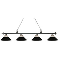 Z-Lite 200-4MB+BN-RMB Riviera 4 Light 81 inch Matte Black and Brushed Nickel Island/Billiard Ceiling Light in Clear Ribbed and Matte Black