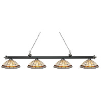 Riviera 4 Light 81 inch Matte Black and Brushed Nickel Island Light Ceiling Light in Multi Colored Tiffany Glass (35)