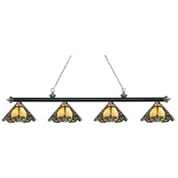 Z-Lite 200-4MB+BN-Z14-37 Riviera 4 Light 81 inch Matte Black and Brushed Nickel Island Light Ceiling Light in Multi Colored Tiffany Glass (37)
