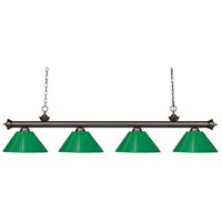 Riviera 4 Light 80 inch Olde Bronze Island Light Ceiling Light in Green Plastic