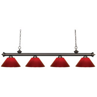 Riviera 4 Light 80 inch Olde Bronze Island Light Ceiling Light in Red Plastic