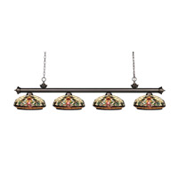Riviera 4 Light 81 inch Olde Bronze Billiard Ceiling Light in Multi Colored Tiffany Glass (34)