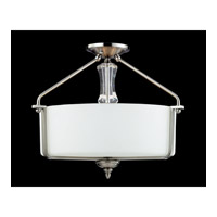 Avignon 3 Light 19 inch Brushed Nickel Semi-Flush Mount Ceiling Light