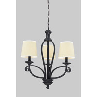 Z-Lite Charleston 3 Light Chandelier in Crme/Matte Back 2001-3