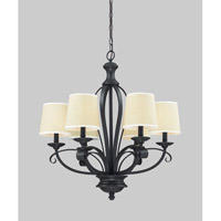 Z-Lite Charleston 6 Light Chandelier in Crme/Matte Back 2001-6