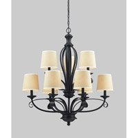 Z-Lite Charleston 9 Light Chandelier in Crme/Matte Back 2001-9