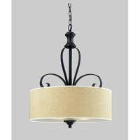 Z-Lite Charleston 3 Light Pendant in Crme/Matte Back 2001P