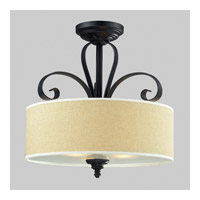 Z-Lite Charleston 3 Light Semi Flush Mount in Matte Black 2001SF