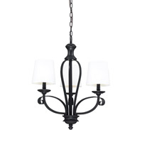 Z-Lite Charleston 3 Light Chandelier in White/Matte Black 2007-3