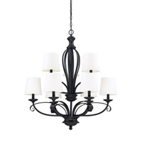 Charleston 9 Light 32 inch Matte Black Chandelier Ceiling Light in Matte Black and White