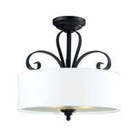Z-Lite Charleston 3 Light Flush Mount in Matte Black 2007SF